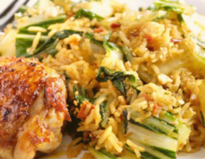 Nasi met kejapkarbonades en sambalboontjes